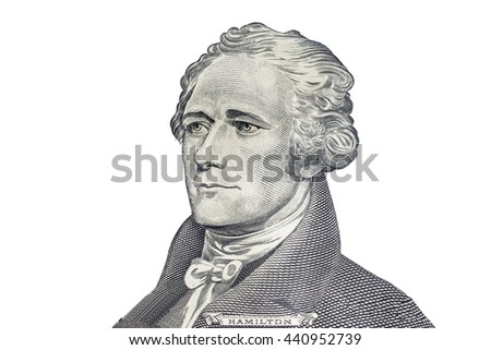 """Alexander Hamilton"" face on US ten or 10 dollars bill macro, united states money closeup on white background - stock photo"