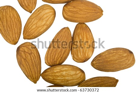 Almonds in small group is isolated on a white background