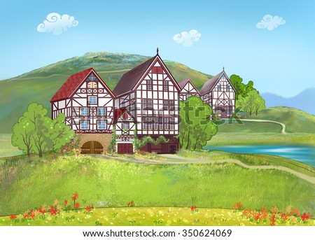 Alpine meadows and beautiful houses in the style Fachwerk. Germany. Europe. Sights.