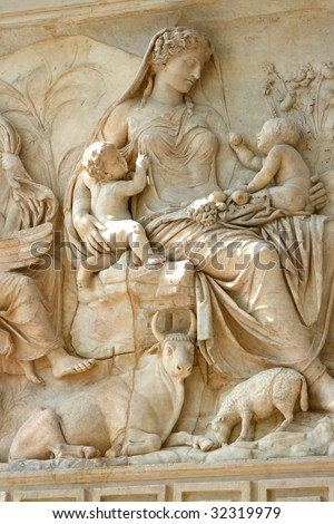 """""""Altar of Augustan Peace"""" in Rome - stock photo"""