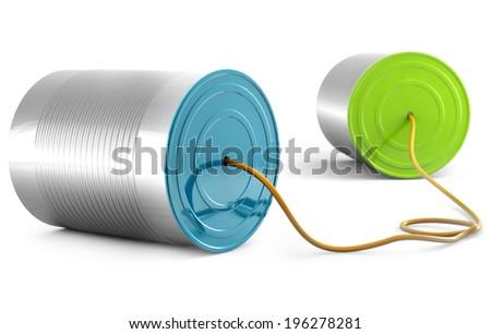 aluminum can telephone isolated on white background - stock photo