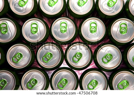Aluminum cans  with keys close-up,