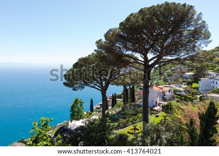 Amalfi Coast view from Ravello Rufolo Villa, Italy - stock photo