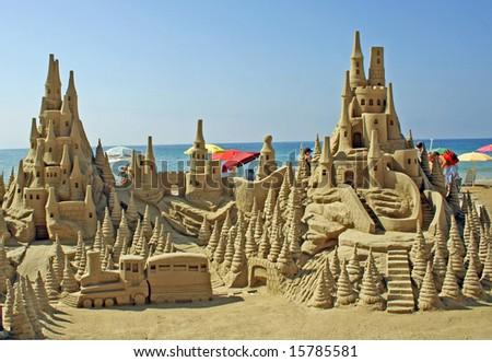 amazing sandy castle on the beach - stock photo
