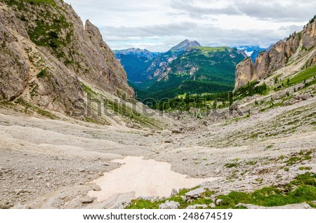 Amazing summer mountain landscape with snow between peaks, Dolomites Mountains, Italy - stock photo