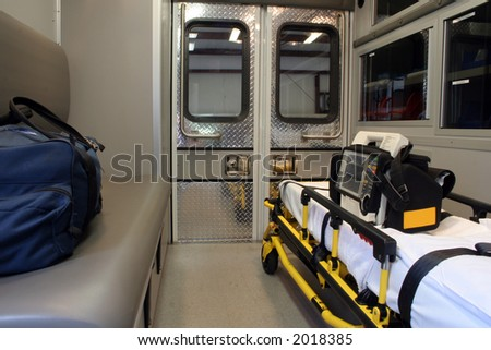 """Ambulance Interior ""Interior view of the patient compartment of an ambulance. Paramedic unit. - stock photo"