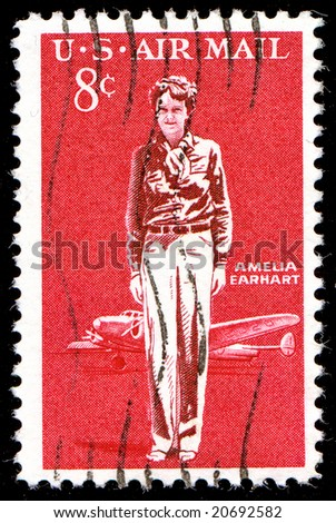1963 Amelia Earhart Airmail Stamp - stock photo