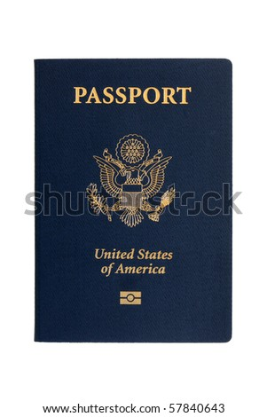 American passports on a white background - stock photo