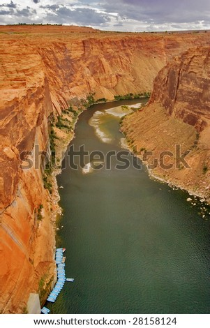 An abrupt bend of the river Colorado in state of Utah in the USA - stock photo