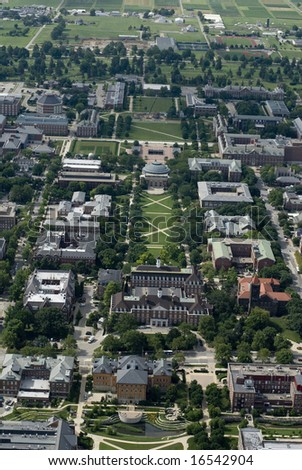 An aerial span of a university campus. - stock photo