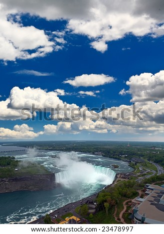 An aerial view of the Niagara Falls between US and Canada - stock photo