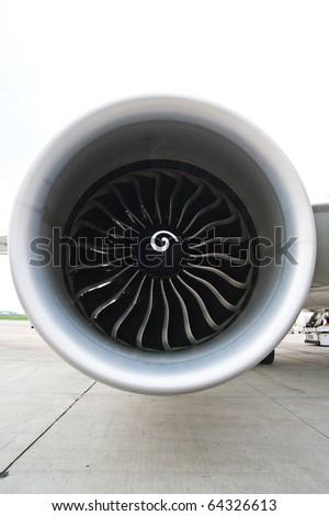 an aircraft jet engine - stock photo