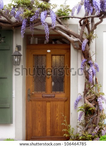 an architectural detail of a rustic door - stock photo