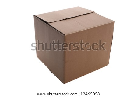 an   cardboard     box      isolated    with   clipping    path - stock photo