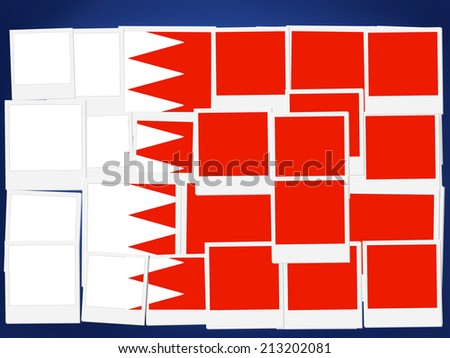 An illustration of the flag of Bahrain, photo frame  - stock photo