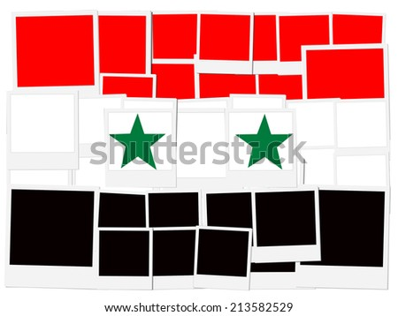 An illustration of the flag of Syria, photo frame  - stock photo