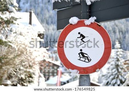 An old No Skiing and No Sledding Sign - stock photo