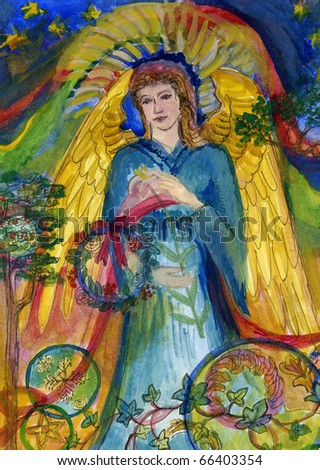 An Original Painting of an Angel in Blue Robes Holding a White Lily and an Evergreen Wreath. With Trees, Stars and Decorative Patterns. - stock photo