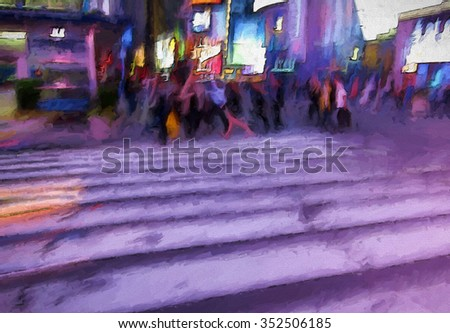 An original photograph of a busy New York City street transformed into a colorful abstract painting with purple tones