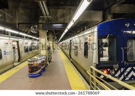 [2013-12-25] An underground train platform of Grand Central Terminal, NYC. In the photo train platform, subway trains are visible.  - stock photo