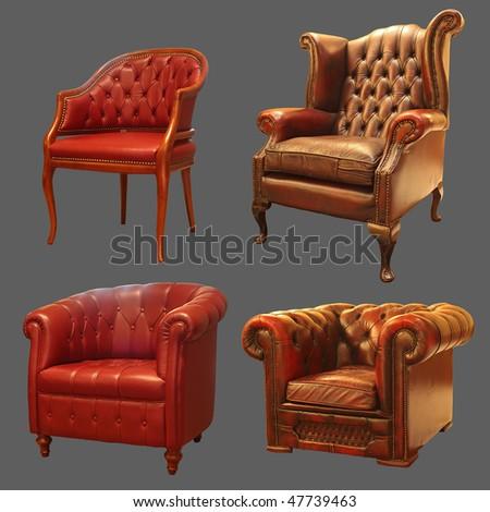 4 Ancient Armchair - stock photo