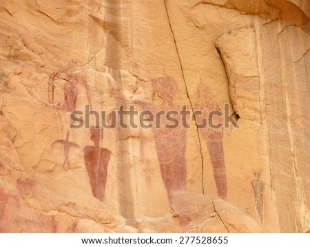 ancient, barrier canyon style  pictographs in sego canyon, utah       - stock photo