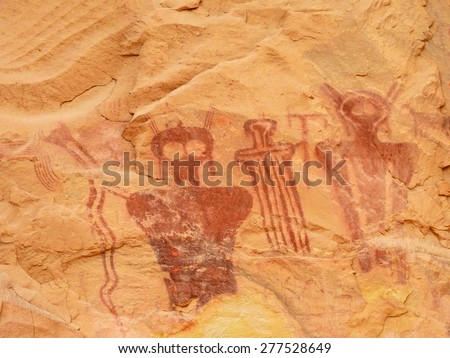 ancient, carrier canyon style  pictographs in sego canyon, utah       - stock photo