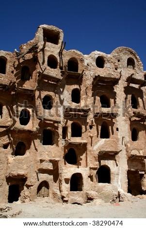 Ancient granary in Kabaw, Libya - stock photo