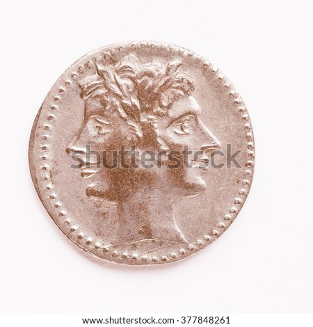 Ancient Roman coin from the Roman Empire vintage - stock photo