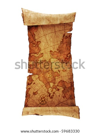 ancient scroll map, isolated on a white background - stock photo