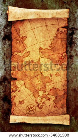 ancient scroll map, on grunge wall - stock photo