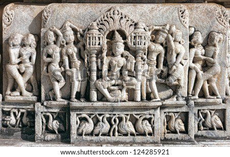 Ancient Sun Temple in Ranakpur. Jain Temple Carving.  Ranakpur, Rajasthan, Pali District, Udaipur, India. Asia. - stock photo