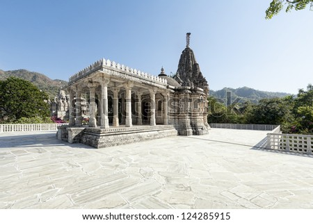 Ancient Sun Temple in Ranakpur. Rajasthan, Pali District, Udaipur, India. Asia. - stock photo