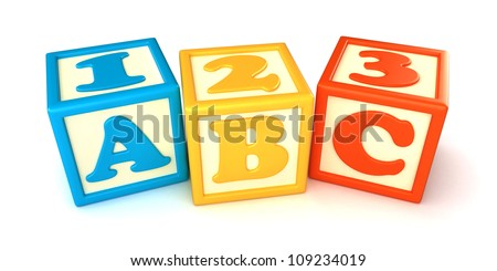 123 and ABC building blocks with apple on white background - stock photo