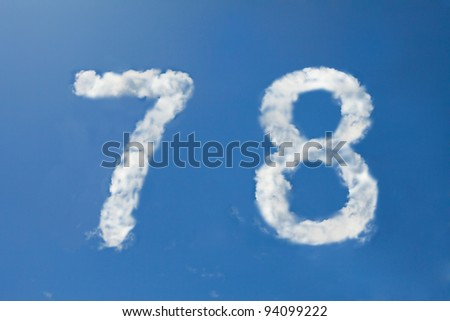 7 and 8  clouds number - stock photo