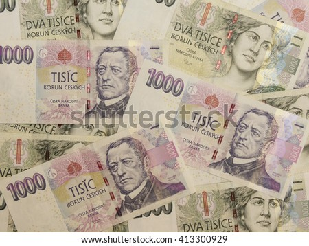 1000 and 2000 Czech koruna CZK (legal tender of the Czech Republic) banknotes