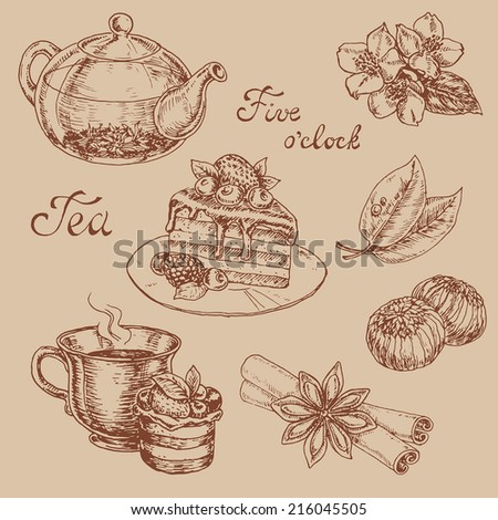 ?and drawn vector elements of the tea and spices to tea