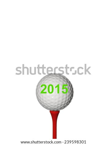 2015 and Golf ball.  - stock photo