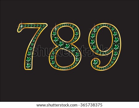 7, 8 and 9 in stunning emerald precious round jewels set into a 2-level gold gradient channel setting, isolated on black. High-resolution raster JPEG version.  - stock photo