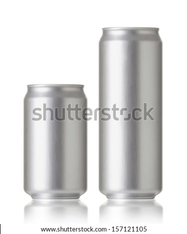 330 and 500 ml. aluminum cans, Realistic photo image. Blank can with copy space, ideal for beer, lager, alcohol, soft drink, soda, lemonade, cola, energy drink, juice, water etc.   - stock photo