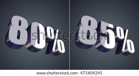 80 and 85 percent glossy symbol 3D rendering
