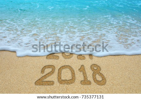 Wonderful 2017 And 2018 Written On Sandy Beach, The Wave Is Covering 2017. New Year