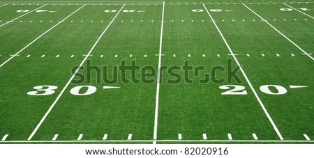 20 and 30 Yard Line on American Football Field - stock photo