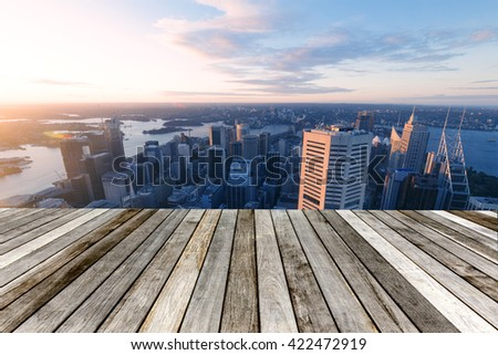 Angle Sydney Tower, the highest point of the city Sydney - stock photo