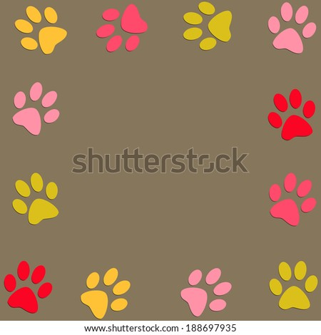 Animal colour paws background
