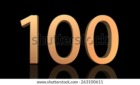 100 Anniversary, number one hundred in gold isolated on black background - stock photo
