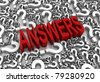 """ANSWERS"" 3D text surrounded by question marks. Part of a series. - stock photo"