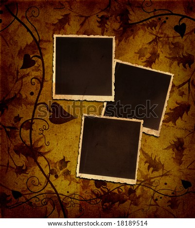 antique blank photos on autumnal rusty background- fall season - stock photo