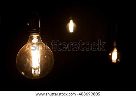 antique edison style  light bulbs - stock photo