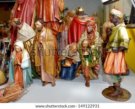Antique Figurine Nativity Christmas statues - stock photo